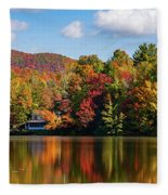 Reflection Of Autumn Trees In A Pond Fleece Blanket
