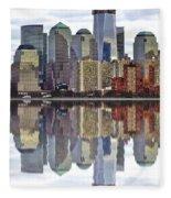 Reflection Of Downtown Nyc Fleece Blanket