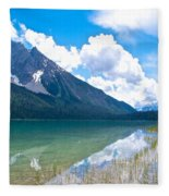 Reflection Of Glaciers And Clouds In Emerald Lake In Yoho National Park-british Columbia-canada Fleece Blanket