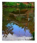 Reflection Of House On Water Fleece Blanket