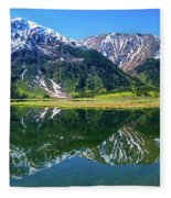 Reflection Of Mountains In Tern Lake Fleece Blanket