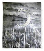 Reflection Of The Crescent Fleece Blanket