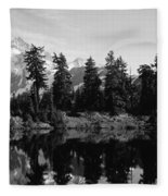 Reflection Of Trees And Mountains Fleece Blanket