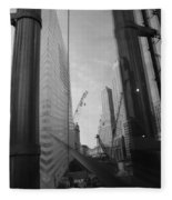 Reflections At The 9/11 Museum In Black And White Fleece Blanket