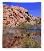 Reflections In Barker Dam By Diana Sainz Fleece Blanket
