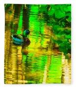 Reflections Of A Mallard Duck Fleece Blanket