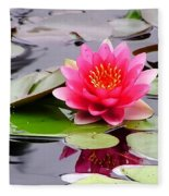 Reflections Of A Pink Waterlily  Fleece Blanket