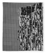 Reflections Of Architecture In Balck And White Fleece Blanket