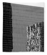 Reflections Of Architecture In Black And White Fleece Blanket