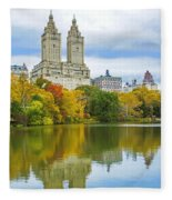 Reflections Of Autumn Central Park Lake  Fleece Blanket