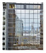 Reflections Of The Capitol Building In Denver Colorado Fleece Blanket