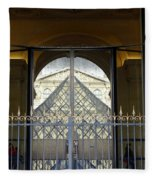Reflections Of The Musee Du Louvre In Paris France Fleece Blanket