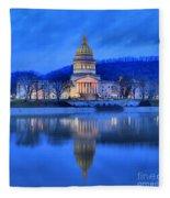 Reflections Of The West Virgina Capitol Building Fleece Blanket