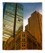 Reflections On Buildings Nyc Fleece Blanket