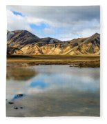 Reflections On Landmannalaugar Fleece Blanket