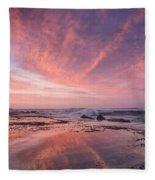 Reflections On North Jetty Dusk Fleece Blanket