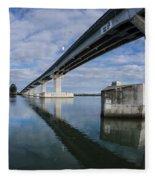 Reflections On Samoa Bridge Fleece Blanket