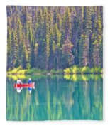 Reflective Fishing On Emerald Lake In Yoho National Park-british Columbia-canada  Fleece Blanket