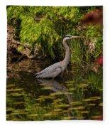 Reflective Great Blue Heron Fleece Blanket