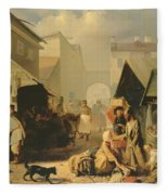 Refreshment Stall In St. Petersburg, 1858 Oil On Canvas Fleece Blanket