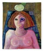 Regina, 2004 Acrylic & Metal Leaf On Canvas Fleece Blanket