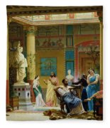 Rehearsal Of The Fluteplayer And The Diomedes Wife In The Atrium Of The Pompeian House Of Prince Fleece Blanket