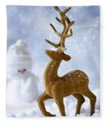 Reindeer In Snow Fleece Blanket