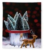 Reindeer With Christmas Trees Fleece Blanket