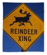 Reindeer Xing Fleece Blanket