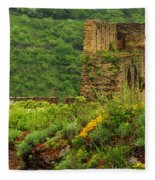 Reinfels Castle Ruins And Wildflowers In The Rhine River Valley 1 Fleece Blanket