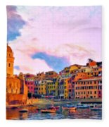 Relaxing Around Vernazza Fleece Blanket