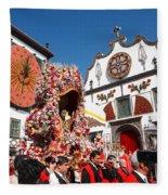 Religious Festival In Azores Fleece Blanket