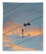 Remains Of Kite On The Electric Power Line Fleece Blanket