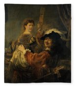 Rembrandt And Saskia In The Parable Of The Prodigal Son Fleece Blanket