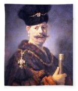 Rembrandt's A Polish Nobleman Fleece Blanket