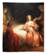 Rembrandt's Joseph Accused By Potiphar's Wife Fleece Blanket