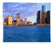 Renaissance Center, Detroit, Sunrise Fleece Blanket