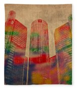 Renaissance Center Iconic Buildings Of Detroit Watercolor On Worn Canvas Series Number 2 Fleece Blanket
