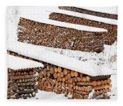 Renewable Heat Source Firewood Stacked In Winter Fleece Blanket