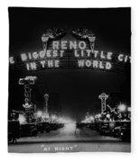 Reno Nevada The Biggest Little City In The World. The Arch Spans Virginia Street Circa 1936 Fleece Blanket