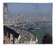 Replacement Of The Easter Span San Francisco Oakland Bay Bridge From Yerba Buena Island Oct 9th 2011 Fleece Blanket