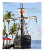 Replica Of The Christopher Columbus Ship Pinta Fleece Blanket