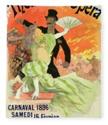 Reproduction Of A Poster Advertising The 1896 Carnival At The Theatre De L'opera Fleece Blanket