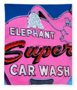 Elephant Super Car Wash Sign Seattle Washington Fleece Blanket