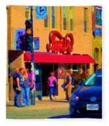 Restaurant Amir Internet Cafe Fast Food Plateau Montreal City Street Scene Art Carole Spandau  Fleece Blanket