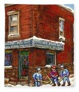 Restaurant Epicerie Jean Guy Pointe St. Charles Montreal Art Verdun Winter Scenes Hockey Paintings   Fleece Blanket