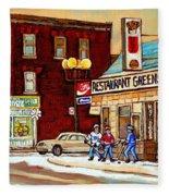 Restaurant Greenspot And Coin Vert Boutique Fleuriste Montreal Winter Street Hockey Scenes Fleece Blanket