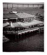 Restaurant On The Bay Fleece Blanket