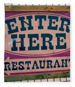 Restaurant Sign Color Fleece Blanket