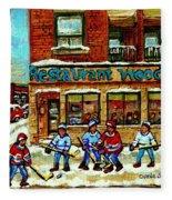 Restaurant Woodland Pizza Rue Wellington Verdun Original Hockey Art Montreal Paintings Commissions   Fleece Blanket